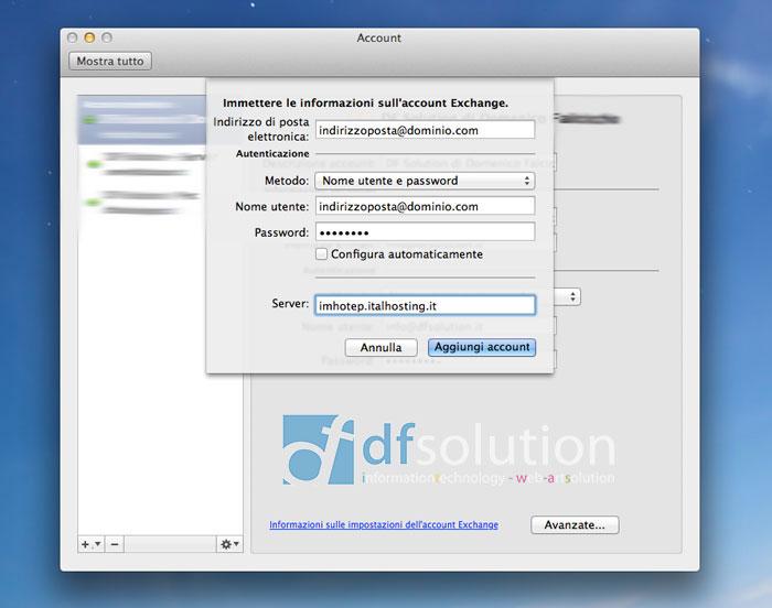 Configurazione Exchange 2010 MAC OSX DF Solution